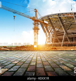 The construction site in front of the floor tile platform - Stock Photo
