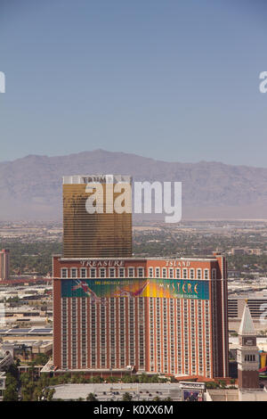 View of Trump Tower from the Paris Las Vegas tower - Stock Photo