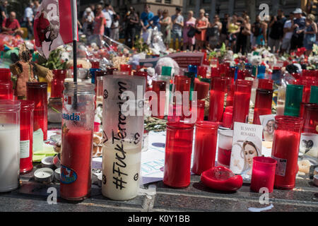 Memorial for victims of terror attacks in Las Ramblas in Barcelona,piety place,candles,terrorist attack - Stock Photo