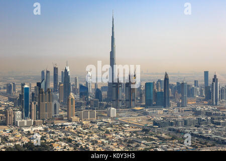 Dubai skyline Burj Khalifa Downtown aerial view photography UAE - Stock Photo