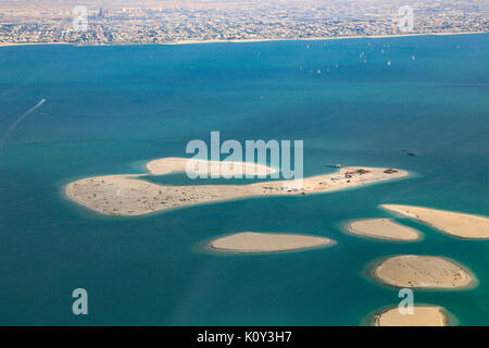 Dubai The World Clarence Chile Islands aerial view photography UAE - Stock Photo