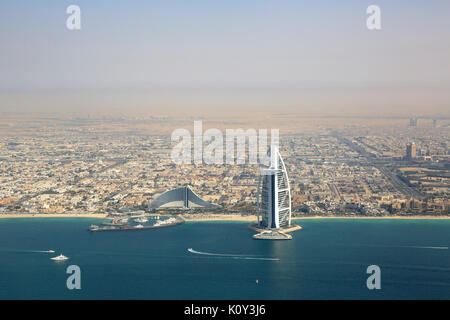 Dubai Burj Al Arab Hotel aerial view photography UAE - Stock Photo