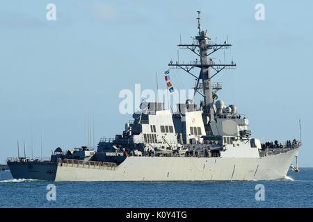 DDG-70 USS HOPPER, ARLEIGH BURKE CLASS GUIDED MISSILE DESTROYER OF THE U.S. NAVY - Stock Photo