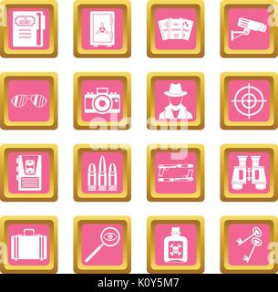 Spy tools icons pink - Stock Photo