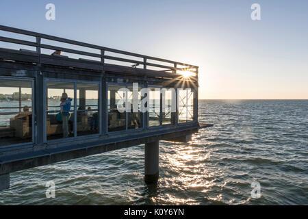 New pier, Heiligenhafen, Baltic Sea, Schleswig-Holstein, Germany - Stock Photo