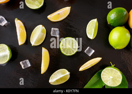 making mojito on dark background top view - Stock Photo
