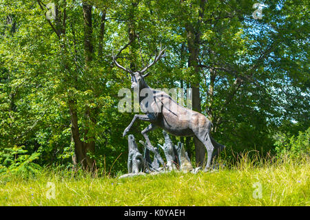 Montreal, Canada - August 16, 2017: Statue of the deer in the park of Cote Saint-Luc - Stock Photo