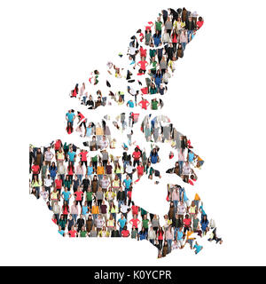 Canada map multicultural group of people integration immigration diversity isolated - Stock Photo