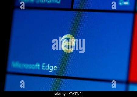 ISTANBUL, TURKEY - NOVEMBER 16, 2016 : Photo of Microsoft Edge in Windows 10 on computer screen. Windows 10 is newer - Stock Photo
