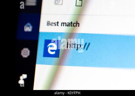 ISTANBUL, TURKEY - NOVEMBER 16, 2016 : Microsoft Edge in Windows 10 on computer screen. Windows 10 is newer version - Stock Photo