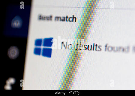 ISTANBUL, TURKEY - NOVEMBER 16, 2016 : No results found message in Windows 10 on computer screen. Windows 10 is - Stock Photo
