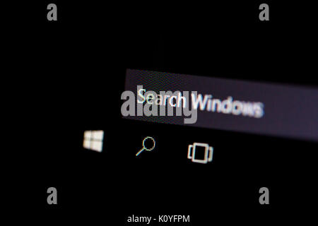 ISTANBUL, TURKEY - NOVEMBER 16, 2016 : Search area in Windows 10 on computer screen. Windows 10 is newer version - Stock Photo