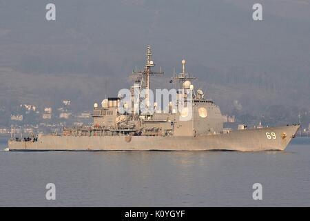 CG-69 USS VICKSBURG, TICONDEROGA CLASS GUIDED MISSILE CRUISER OF THE U.S. NAVY - Stock Photo