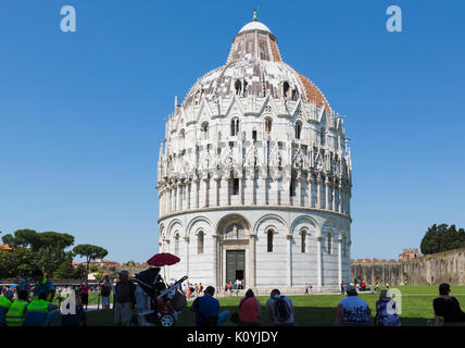 Pisa, Pisa Province, Tuscany, Italy.  The Baptistery in the Campo dei Miracoli, or Field of Miracles.  Also known - Stock Photo