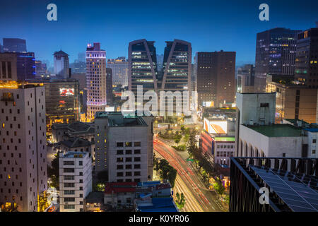 Seoul. Cityscape image of Seoul downtown during twilight blue hour. - Stock Photo