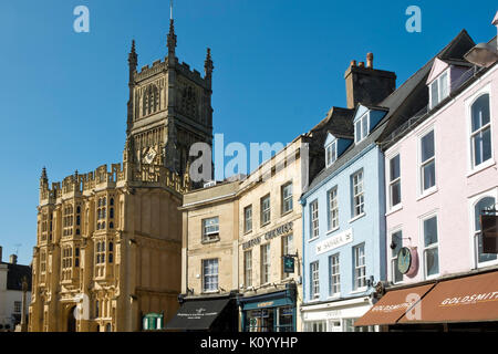 Spring sunshine on the recently restored porch of the abbey church in Cirencester, Gloucestershire, UK. - Stock Photo