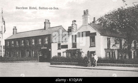 Bacchus Hotel at Sutton on Sea, Lincolnshire, England. 1920 or before - Stock Photo