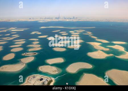 Dubai The World Islands Germany Austria France panorama Spain Netherlands Island aerial view photography UAE - Stock Photo