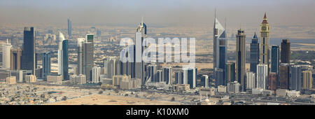 Dubai Emirates Towers panorama panoramic aerial view photography UAE - Stock Photo