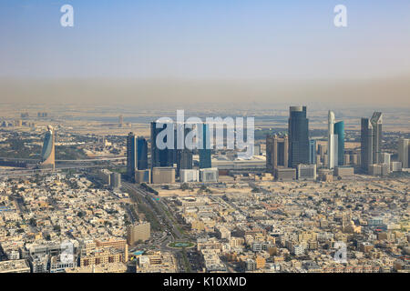 Dubai World Trade Center Downtown aerial view photography UAE - Stock Photo