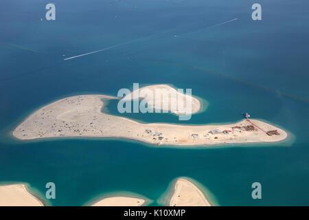 Dubai The World Clarence Island aerial view photography UAE - Stock Photo