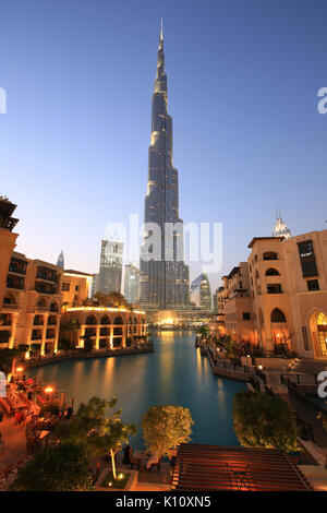 Dubai Burj Khalifa skyscraper night evening twilight blue hour UAE - Stock Photo