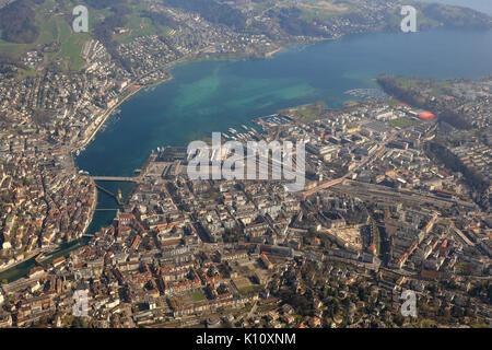 Switzerland Lucerne main station Luzern City lake aerial view photography photo - Stock Photo