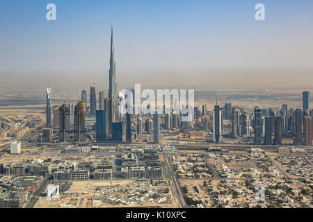 Dubai skyline Burj Khalifa skyscraper aerial view photography UAE - Stock Photo