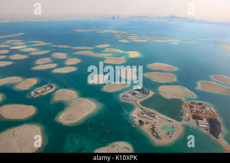 Dubai The World Islands Germany Austria Switzerland Lebanon panorama Island aerial view photography UAE - Stock Photo