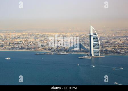 Burj Al Arab Hotel Dubai beach sea aerial view photography UAE - Stock Photo