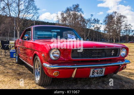 Ford, Mustang, red, classic, vintage, car, washed, shiny, shining, - Stock Photo