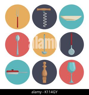 white background with set collection color of icons different utensils kitchen - Stock Photo