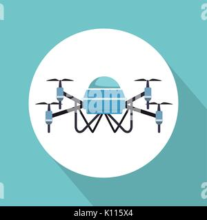 color background with circular frame robot drone with four airscrew - Stock Photo