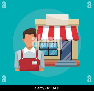 color background with salesman and facade store awning - Stock Photo