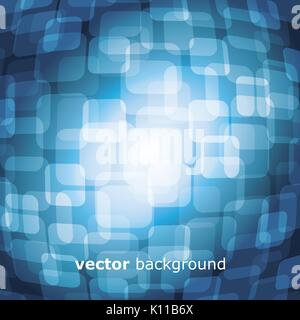 Vector Illustration of 3D Warped Squares On Blue Background - Stock Photo