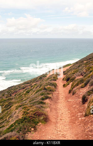 A pathway or track along the cliff tops on the cornish coast at st Agnes high above the sea below and the beach. - Stock Photo