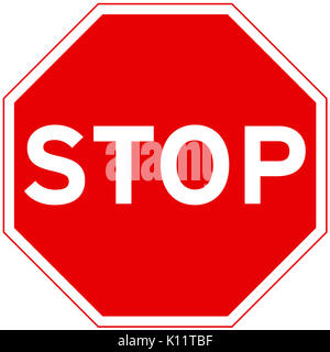 Stop and give way road sign on white background - Stock Photo