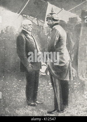 Count Zeppelin meeting the Kaiser, WW1 - Stock Photo