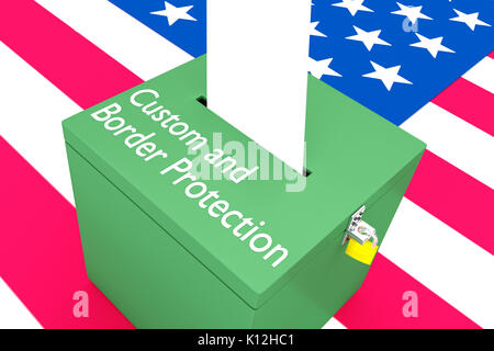 3D illustration of 'Customs and Border Protection' script on a ballot box, with US flag as a background. - Stock Photo