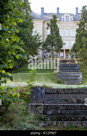 Steps leading up through the garden to rear exterior view of Floda Säteri built in 1863, home of the local Montessori - Stock Photo