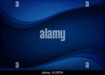 Abstract deep blue background curve and overlap layer with basic simply geometry vector illustration - Stock Photo