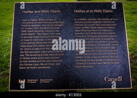 The memorial plaque of the RMS Titanic at the Fairview Cemetery in Halifax, Nova Scotia. - Stock Photo
