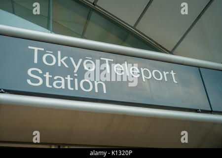 TOKYO, JAPAN JUNE 28 - 2017: Informative sign of Tokyo teleport station . It's very convenient way for visitors - Stock Photo