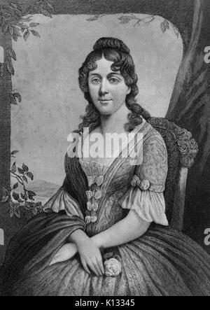 Martha Jefferson, seated portrait, steel plate engraving featuring wife of Thomas Jefferson and First Lady of the - Stock Photo