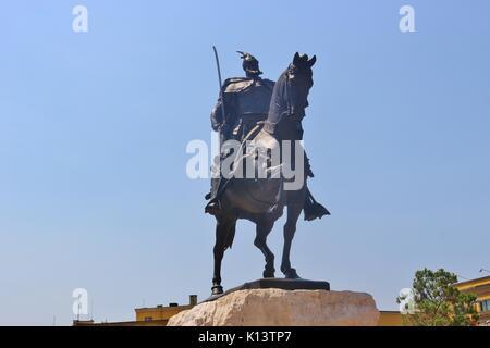 Statue of Skanderbeg or Gjergj Kastrioti who fought against the empire in the 15th century. Skanderbeg square in - Stock Photo
