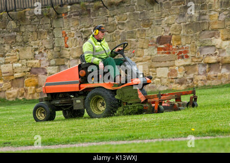 Man wearing high visibility clothing & ear protection using large ride-on mower to cut grass of lawn in public park - Stock Photo