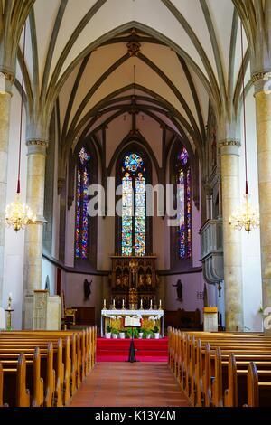 The landmark Vaduz Cathedral of St Florin in Vaduz, capital of the Principality of Liechtenstein - Stock Photo