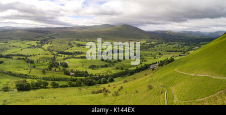 Looking south towards Helvellyn from Blencathra.  Aerial image by drone - Stock Photo