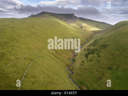 Glenderamackin River by drone, with Blencathra in the background.