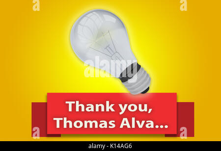 Colorful 'Thank you, Thomas Alva' concept with red text banner and 3d rendered domestic light bulb, isolated with - Stock Photo